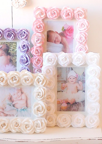 easy and cute. hot glue flowers to frame.