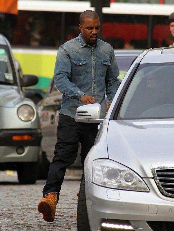 Kaney West in Balmain denim shirt # men's fashion #denim shirt #