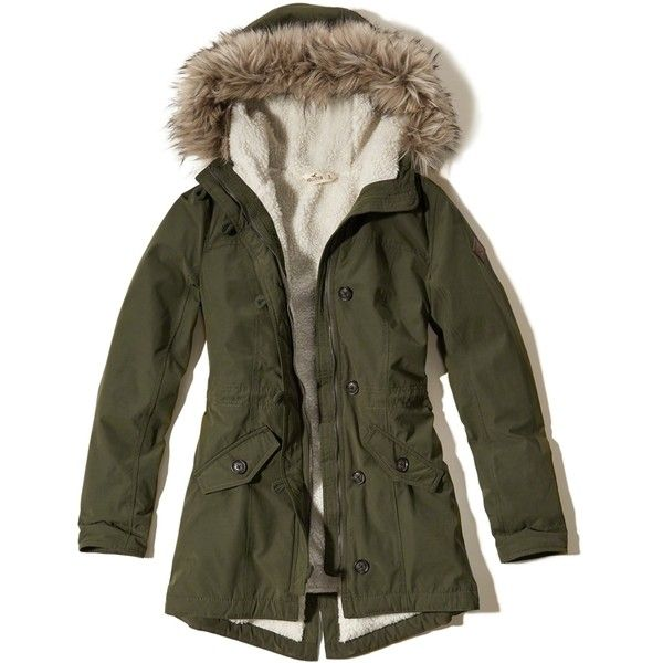 Hollister Heritage Sherpa Lined Parka ($70) ❤ liked on Polyvore featuring outerwear, coats, olive, olive parka, hooded coat, olive green coat, army green hooded parka and zip coat