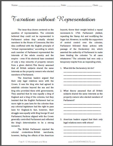 Taxation without Representation - Free Printable American History Reading with Questions, Grades 9-12