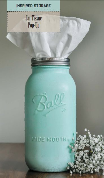 Say farewell to sniffy noses: transform a Mason jar into a colorful pop-up tissue holder with JoAnn Moser's new book, Mason Jar Nation.