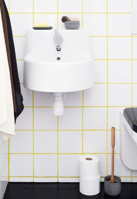 Via East of Hudson | Yellow Grout Bathroom