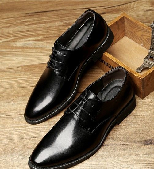 awesome MMIE - Black - Dress Formal Leather Shoes 7cm Taller