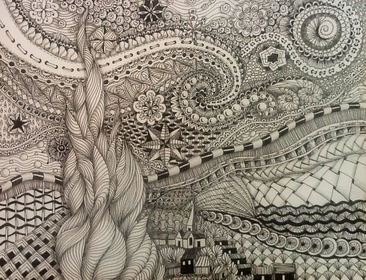 Starry Night Zentangle - Oh, this would be a great art lesson for the kids (and myself!)