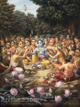 Ch. 13: After selecting a pleasing location on the riverbank, Krishna and His friends opened their baskets of food and began eating in great transcendental pleasure. Like the whorl of a lotus flower surrounded by petals, Krishna sat in the center, encircled by His friends, who all looked very beautiful. Artwork [Krishna Enjoys Lunch With the Cowherd Boys] courtesy of The Bhaktivedanta Book Trust International, Inc. (www.krishna.com) Used with permission. Painted in 1978.