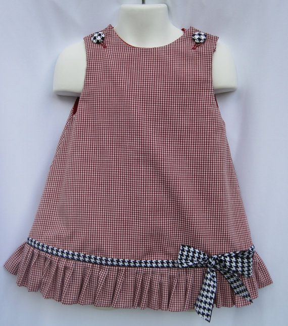Game Day Gingham Alabama Ruffle Dress with by sandysspecialtouch, $35.70