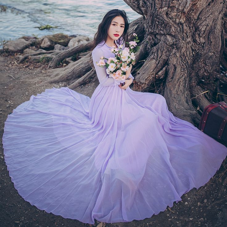 Cheap spring and summer, Buy Quality beach dress directly from China fairy dress Suppliers: Spring and Summer Fashion Slim Waist with Bow Vintage Chiffon Dress Big Swing Purple Beach Dress Female Long Sleeve Fairy Dress
