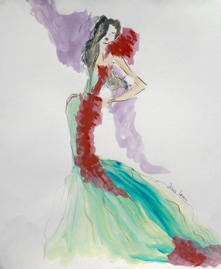 Fashion sketch, green dress, couture, SERECIN