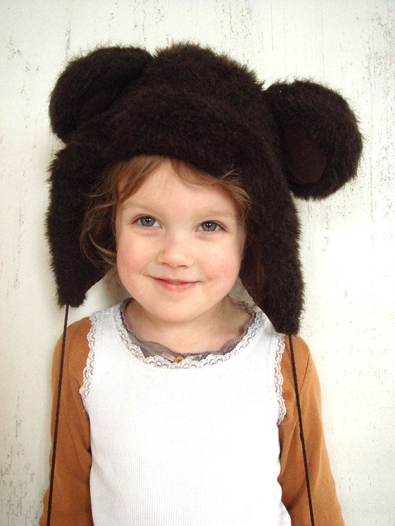 Brown bear winter hat kids winter accessory by GrandpasTreasury, $25.00