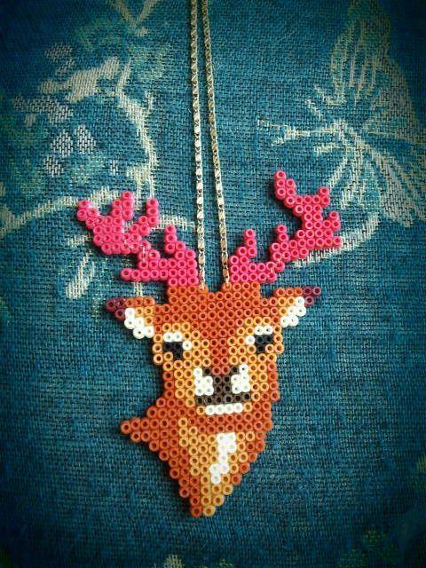 deer perler bead necklace