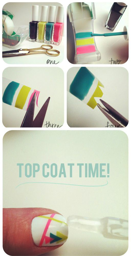 paint on the tape before putting it on your nail, cut out bits, put on your nail, then do a clear top coat!