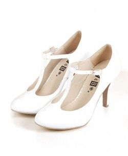 Retro White T Bar Round Toe Leather Heeled Shoes