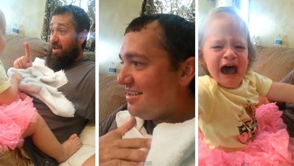 Video | Nena llora atemorizada al ver a su padre afeitado.  Un hombre británico fue duramente criticado en las redes sociales luego de publicar el video en el que sorprende a su hija con la cara afeitada mientras juegan a un juego. http://www.diariopopular.com.ar/c203188