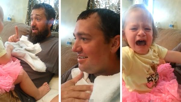 Video   Nena llora atemorizada al ver a su padre afeitado.  Un hombre británico fue duramente criticado en las redes sociales luego de publicar el video en el que sorprende a su hija con la cara afeitada mientras juegan a un juego. http://www.diariopopular.com.ar/c203188