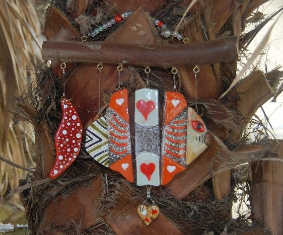 Wind Chime fish With a Heart of Gold handmade by by dalitglass, $95.00