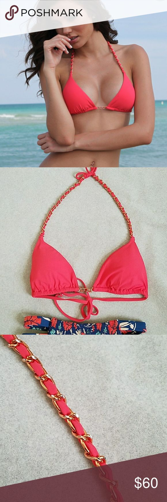 Sauvage California Lotus Chain Bikini Top Size small.  New and unused Sauvage Coral Pink Bikini Top with rose gold and silver chain details. Has padding and is adjustable. Sliding triangle top. Made in USA. Sauvage California Swim Bikinis
