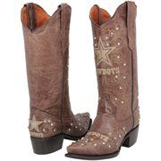 Dallas Cowboys Womens Crystal Accent Cowboy Boots - Brown