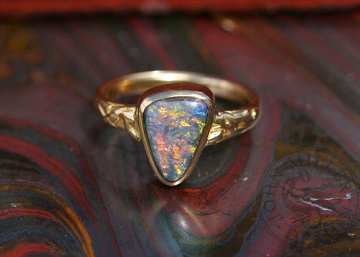 Australian Boulder Opal and gold ring. Handmade in Yallingup, Western Australia by John Miller Design