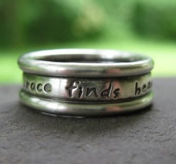 Custom Inscribed Triple Band Ring . sterling silver . (( Embraced )) . your choice lowercase OR Caps font on Etsy, $99.00