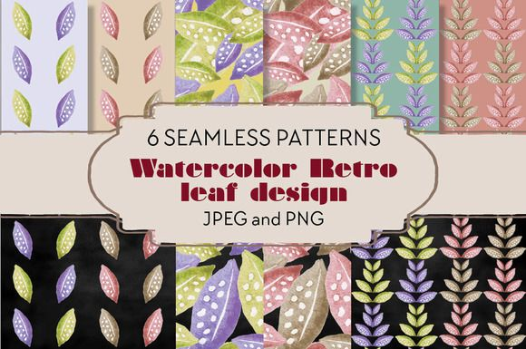 Watercolor patterns: retro leaves by Lolly's Lane Shoppe on Creative Market
