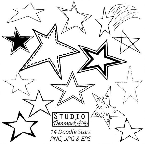 Doodle Stars Clipart Set - 14 Stars Included - Commercial Use Vector - png, jpg, and eps - Instant Download Star Clipart