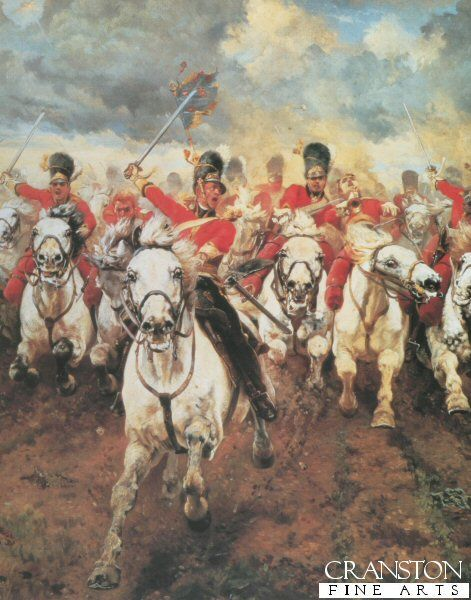 Scotland Forever detail by Lady Elizabeth Butler. Centre detail from the painting Scotland Forever showing the charge of the Scots Greys at Waterloo.