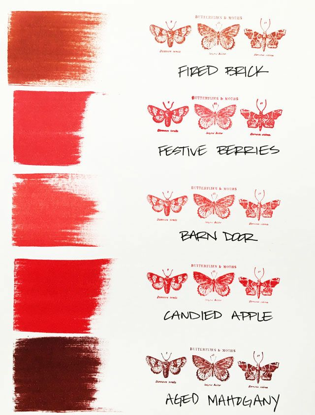 Here's how the new Tim Holtz December distress color, Candied Apple, fits into the red distress color palette. Simple Pleasures Stamps and Scrapbooking, Colorado Springs, CO.