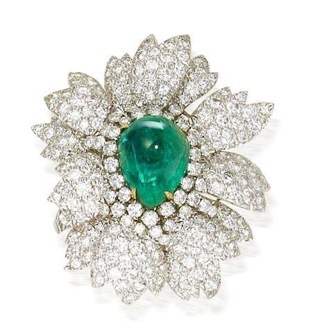An emerald and diamond brooch, David Webb