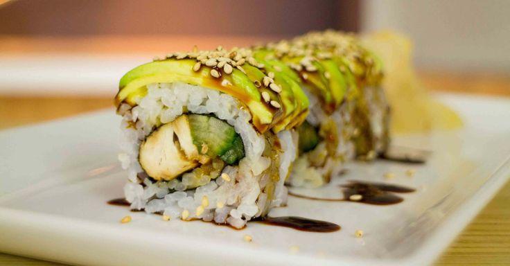 teriyaki chicken sushi - sub tempeh or other vegan option