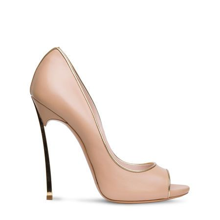 CASADEI Blade peep toe pump nude supple nappa with gold trim by www