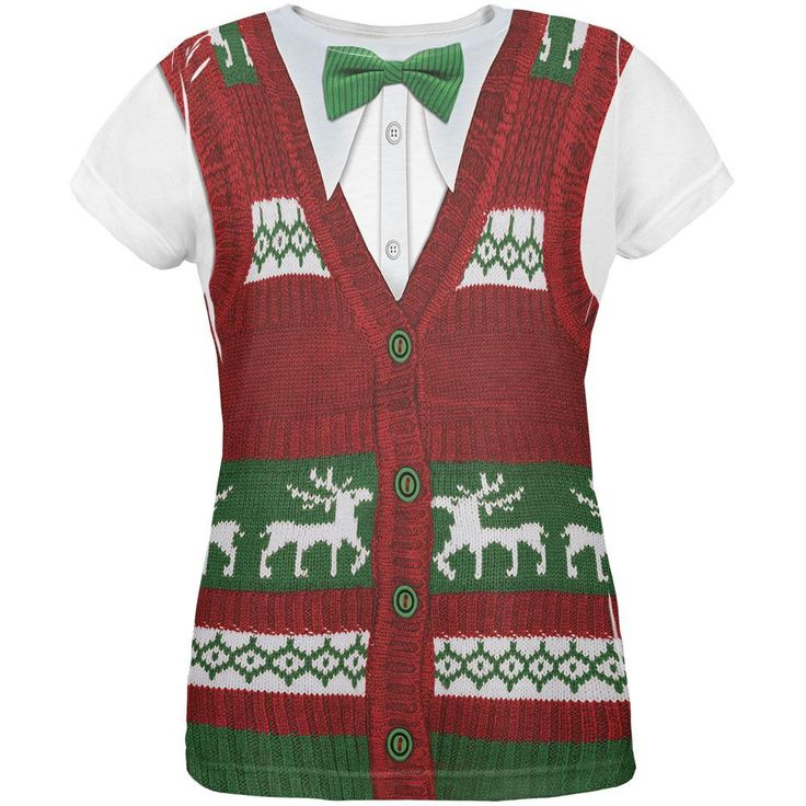 Ugly Christmas Sweater Vest All Over Womens T-Shirt