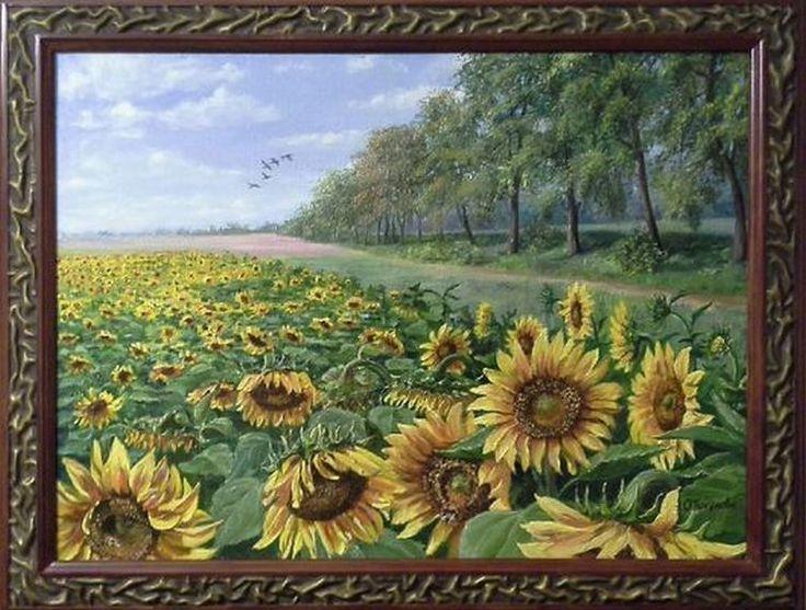 "Landscape Oil painting, oil on canvas, Handmade art ""Solar field""."