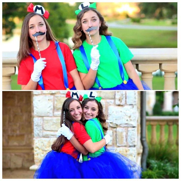 fun costume idea with the bestie or bae - Girl Mario And Luigi Halloween Costumes
