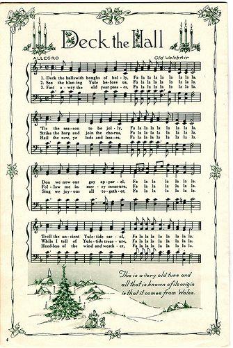 deck the halls, christmas, christmas music, vintage sheet music, christmas sheet music, Merry Christmas