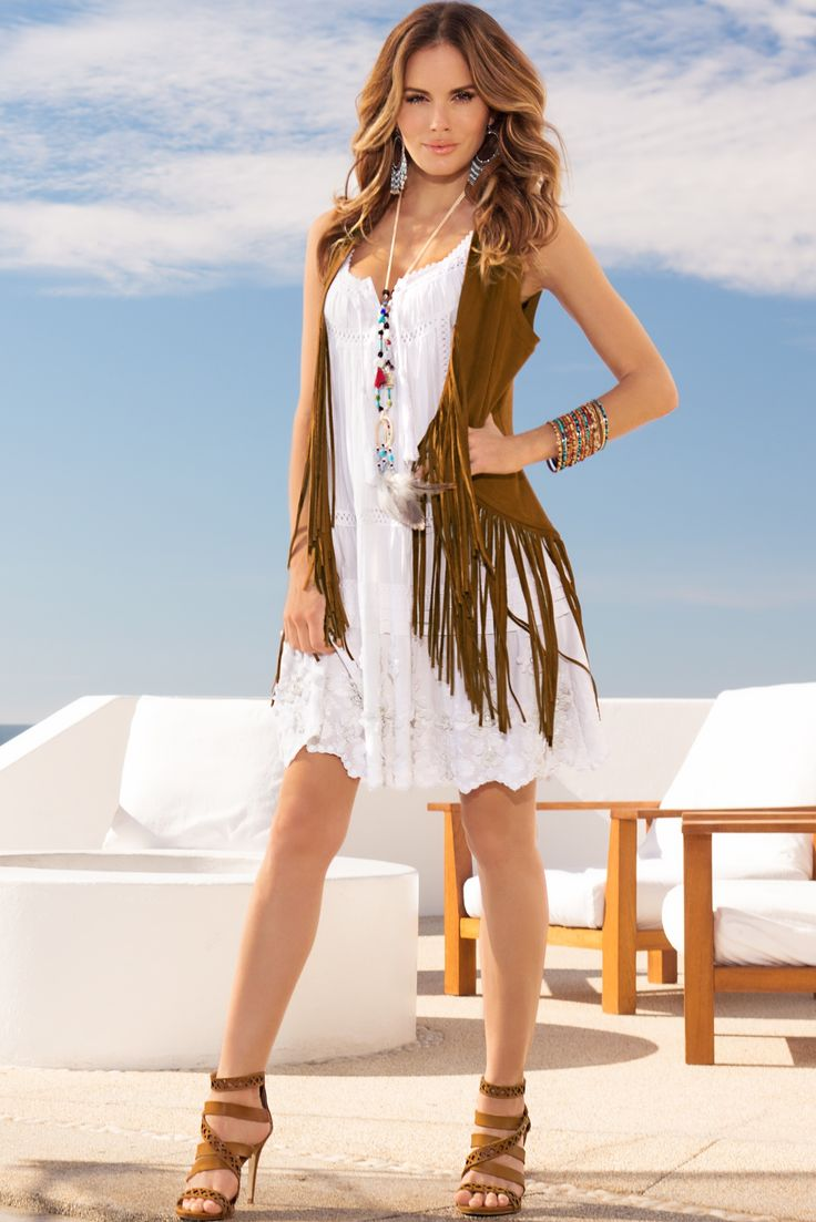 Embroidered tunic dress & Faux suede fringe vest #BostonProper #BohoChic #SS15: