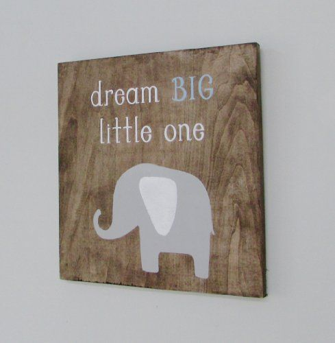 Wall Art Elephant Woodland Creatures Animals Wood Sign Nursery Children's Room Baby's Room New Baby Decor Personalized Zoo Dream Big Little One