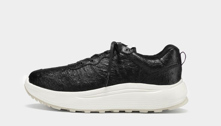 #Eytys Jet Struzzo Black. Featuring an upper of embossed leather, and custom made lightweight phylon midsoles, in a silhouette merging that of marathon footwear with influences from 1970s jogging shoes.