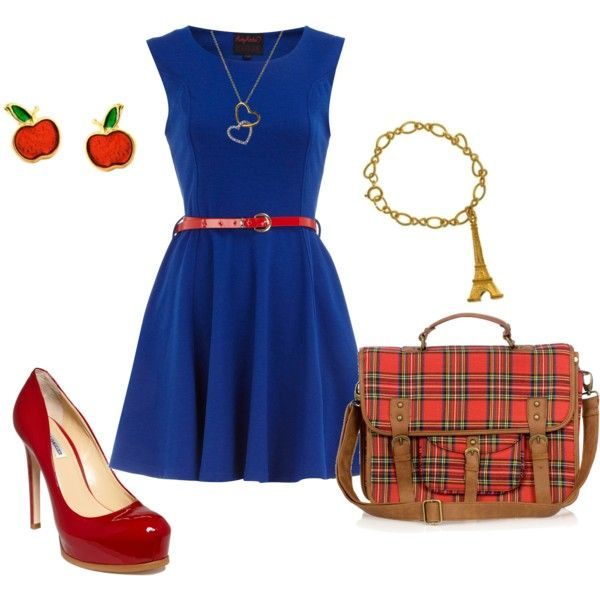 Teaching Is Fun. Sexy teacher outfit by polyvore. Blue dress, red pumps and belt and matching purse and accesories.