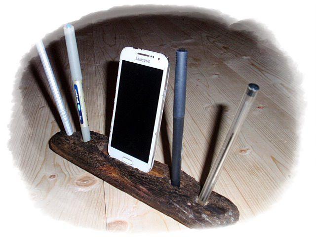 Handy-Zubehör - HANDY-Halter / Stiftehalter aus Tiroler Treibholz - ein Designerstück von HOAMELIGundSCHEAN bei DaWanda