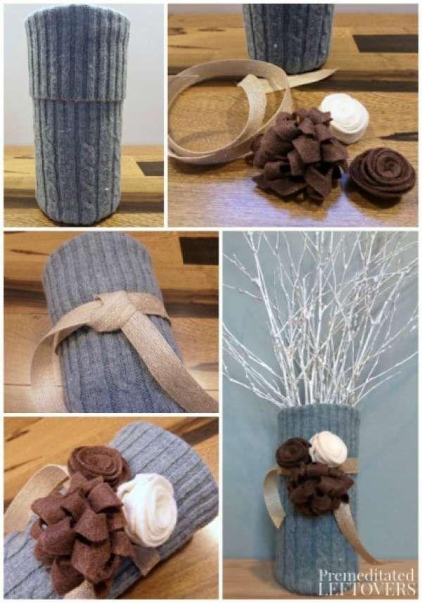 Vase déco avec un vieux pull. 17 Merveilleuses décorations DIY à faire avec des vieux vêtements