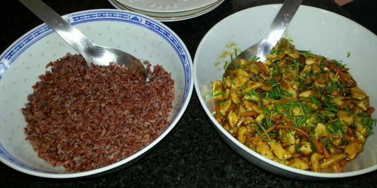 Chinese Almond Chicken and red Thai rice.