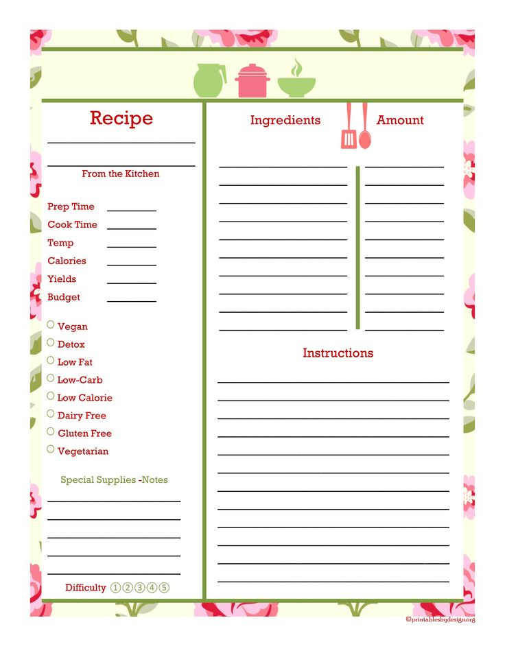 533 best recipe pages\/cards images on Pinterest Recipe books - free recipe templates