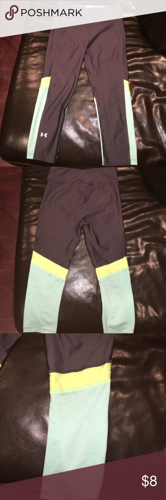 Under Armor Capri Compression Leggings In mint condition and the color mint! Vibrant colors that compliment the grey, very cute leggings and only worn once but they were the wrong size. Under Armour Pants Leggings