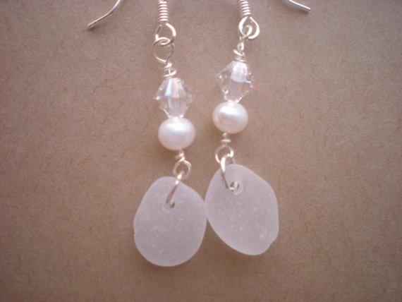 sea glass earrings beach glass earrings sea glass by Catsseaglass, $18.00