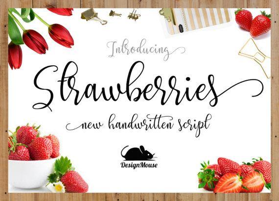 Strawberries Font  Handwritten font download by ThePrintablesWorld