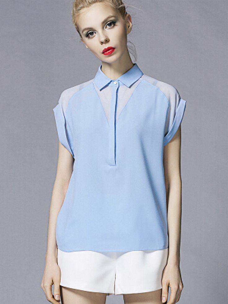 Blue Spliced Geometric Batwing Sleeve Shirt