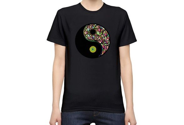 Yin Yang Psychedelic Pattern Women s Personalized T-Shirt| Custom -Printed Tee| 100% Superior Quality Soft Cotton| Premium Quality DTG Printing| Unique Clothing For Women By Bang Bangin