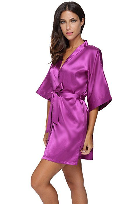 The Bund Women s Pure Colour Short Kimono Robes with Oblique V-Neck ... 38bd1b4be
