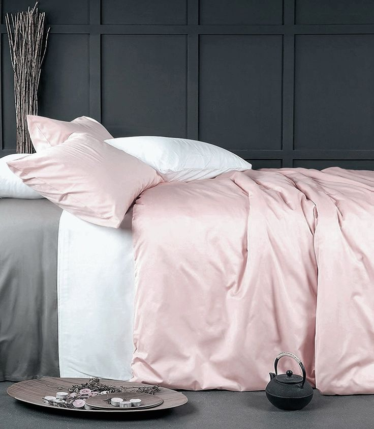 Rose Gold Duvet Cover Luxury Bedding Set High Thread Count Egyptian Cotton Sateen Silky Soft Blush Pale Pink Solid Colored (Queen, Blush Pink)