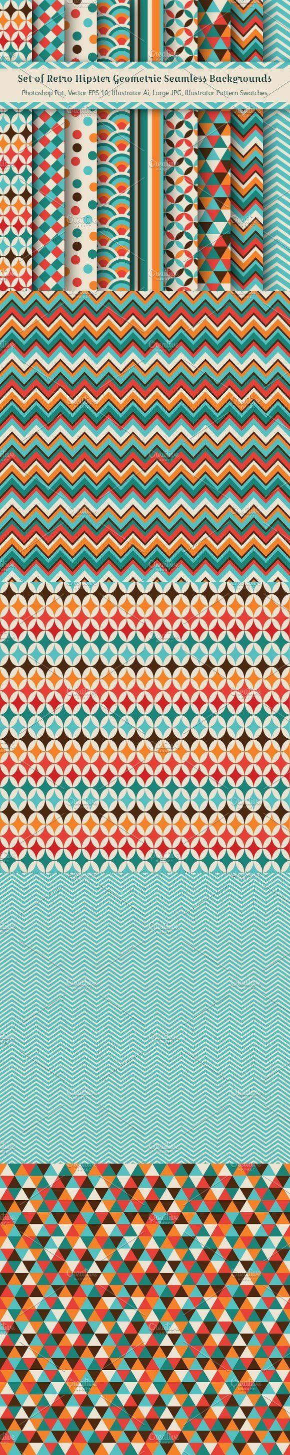 9 Geometric Seamless Backgrounds. Patterns